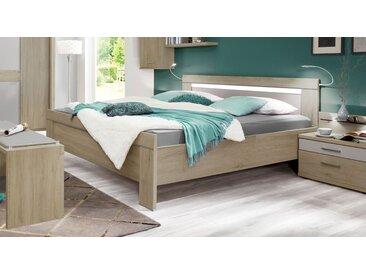 Bett in Eiche sägerau Dekor 140x200 cm ohne Schubkästen - Pelham - Designerbett