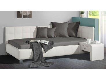 Studioliege 90x200 cm weiß mit großem Bettkasten - Nuca - Polsterliege