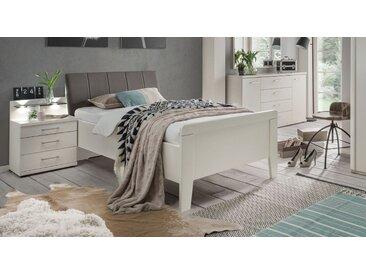 Komfort-Einzelbett in Weiß und Havanna 140x200 cm - Casperia - Designerbett