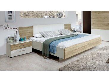 Schwebebett mit Wandpaneel Swansea - 140x200 cm - weiß deckend - Designerbett