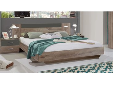 Schlammeiche-Bett 140x200 cm in Schwebeoptik mit LEDs - Sontra - Designerbett