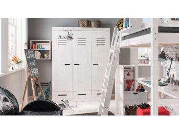 Kleiderschrank fürs Jugendzimmer weiß mit Holzstruktur 3-türig - Derby - Jugend-Schrank