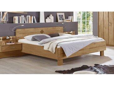 Komfortbett in Erle teilmassiv mit hohem Kopfteil 140x200 cm - Aliano - Massivholzbett