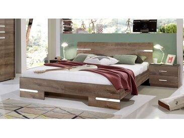 Futonbett Eiche Dekor mit verchromten Zierleisten 140x190 cm - Avello - Designerbett