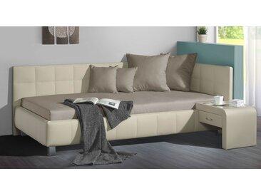 Studioliege beige inkl. Bettkasten und Lattenrost 140x200 cm - Nuca - Polsterliege