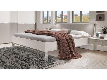 Weißes Bett 140x200 cm mit grauem Kunstleder-Kopfteil - Tulsa - Designerbett