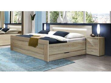 Komforthöhe-Bett in Eiche Dekor 140x200 cm mit Schubkästen - Seymour - Designerbett