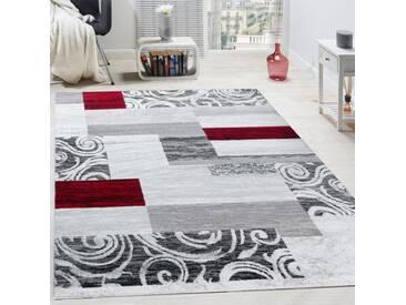 Designer Teppich Wohnzimmer Inneneinrichtung Floral Muster Meliert Hell Grau Rot
