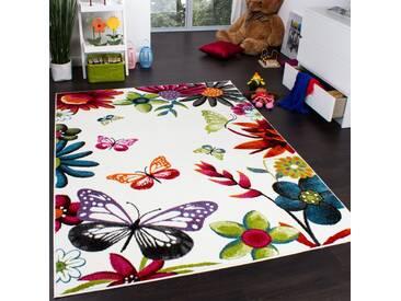 Teppich Kinderzimmer Schmetterling Bunt Kinderteppich Butterfly Creme Mehrfarbig