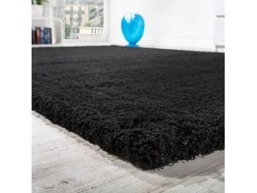 Shaggy Teppich Micro Polyester Wohnzimmer Teppiche Elegant Hochflor Schwarz