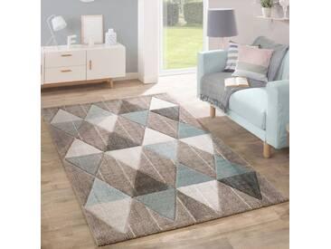 Designer Teppich Modern Konturenschnitt Pastellfarben Rauten Design Beige Blau