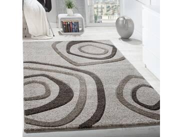 Designer Teppich Kurzflor Kreis Motive Mit Konturenschnitt Creme Beige Meliert