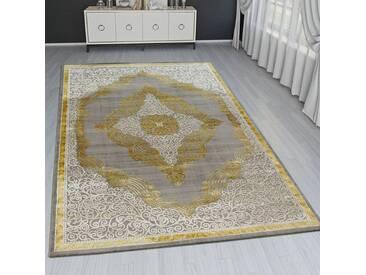 Orient Teppich Modern 3D Effekt Ornamente Meliert Grau Gold Creme Schimmernd