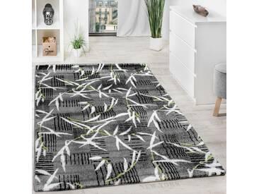 Teppich Modern Wohnzimmerteppich Kurzflor Grau Grün Creme Meliert Ausverkauf!!!