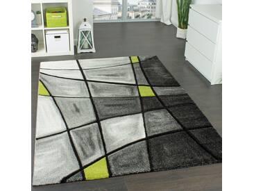 Designer Teppich Kariert Modern mit Handgearbeitetem Konturenschnitt Grau Grün