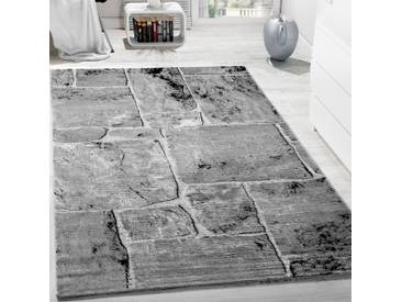 Designer Teppich Kurzflor Marmor Muster Steinboden In Grau Meliert