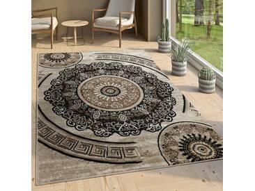 Designer Wohnzimmer Teppich Orientalisch Mandala Motive Braun Beige