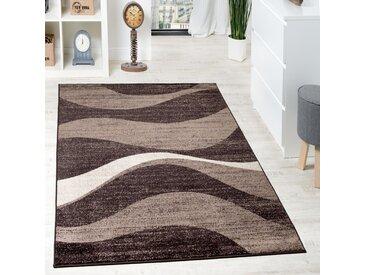 Designer Teppich Modern Gewellt Kurzflor Teppich Design Meliert In Braun Beige