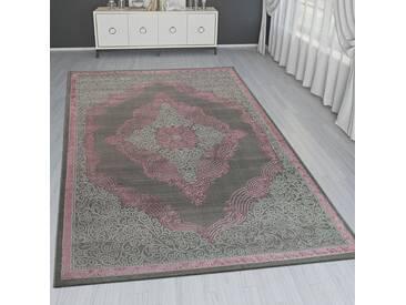 Orient Teppich Modern 3D Effekt Ornamente Meliert Grau Silber Rosa Schimmernd