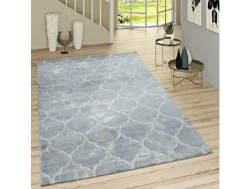 Kurzflor Teppich Modern Marokkanisches Muster Vintage Style Ombre Look Grau Weiß