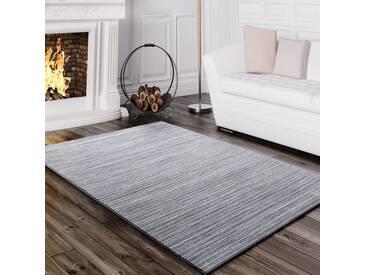 Teppich Wohnzimmer Modern Glitzergarn Gestreift Linien Kurzflor Meliert Grau