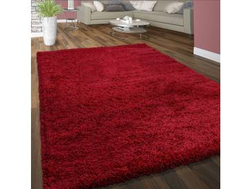 Hochflor Shaggy Teppich Kuschelig Weicher Langflor Moderne Uni Farben In Rot