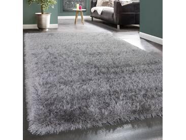 Shaggy Hochflor Teppich Modern Soft Garn Mit Glitzer In Uni Hellgrau Grau