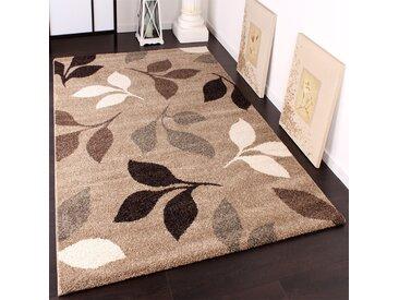Schwerer Webteppich Muster Floral Beige Braun 240x340 cm