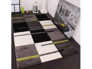 Designer Teppich mit Konturenschnitt Karo Muster Grün Grau Schwarz