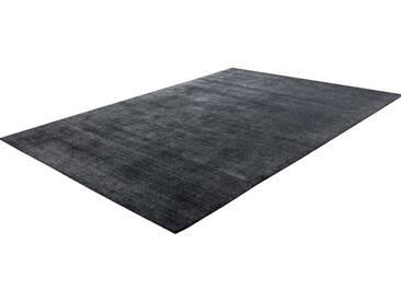 Teppich Handgefertigt Hochwertig Baumwolle Viskose Elegant Meliert In Dunkelgrau