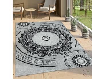 Designer Wohnzimmer Teppich Orientalisch Mandala Motive Grau Weiß