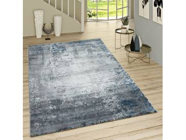 Kurzflor Teppich Modern Orientalisches Muster Vintage Style Ombre Look Grau Blau