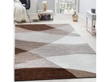 Designer Teppich Modern Geschwungene Wellen Linien Muster Kurzflor Meliert Braun