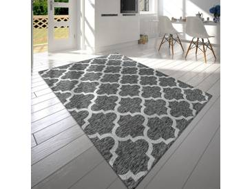 Moderner Kurzflor Wohnzimmer Teppich Marokkanisches Design Meliert In Hellgrau