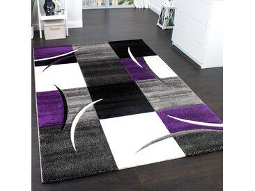 Designer Teppich Mit Konturenschnitt Trend Teppich Modern Kariert Lila Schwarz Grau