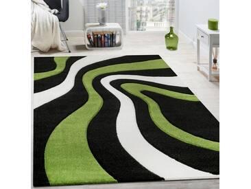 Teppich Modern Wohnzimmer Kurzflor Wellen Design Weiß Schwarz Grün AUSVERKAUF