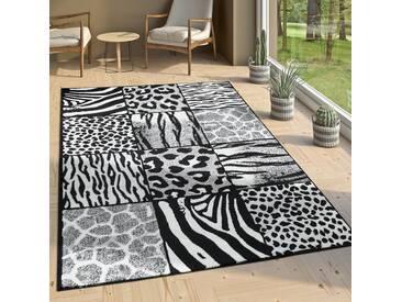 Designer Teppich Patchwork Design Tierfell Motive Modern Grau Anthrazit Weiß