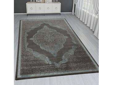 Orient Teppich Modern 3D Effekt Ornamente Meliert Türkis Anthrazit Schimmernd