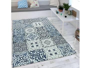 Wohnzimmer Teppich Orient Muster Indigo Blau Weiß Grau Kurzflor Eyecatcher