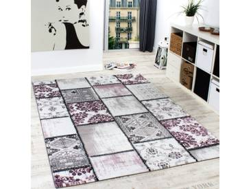 Edler Designer Teppich Patchwork Vintage Look Teppich Meliert in Lila Creme