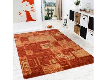 Teppich Wohnzimmer Teppich Retro Muster Meliert in Terracotta Orange Preishammer