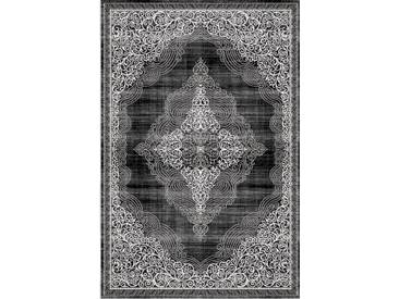 Orient Teppich Modern 3D Effekt Ornamente Meliert Grau Anthrazit Schwarz