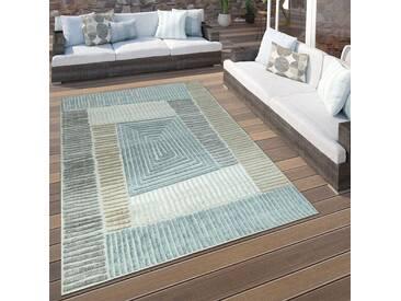 In- & Outdoor Terrassen Teppich Geometrisches Design Pastell Braun Beige Grau