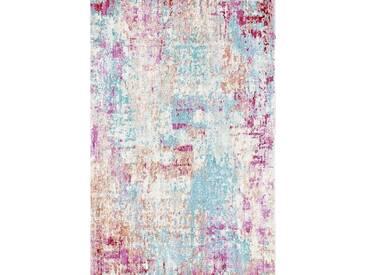 Designer Vintage Teppich Abstraktes Design Blau Creme Pink Mehrfarbig