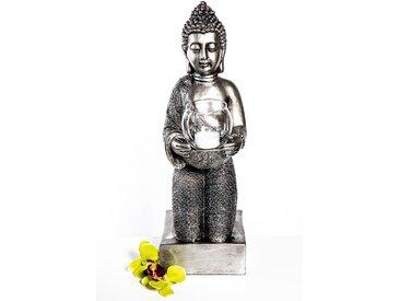 Knieender Buddha mit Windlicht  -  indoor