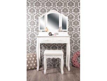 Schminktisch Rose weiß mit klappbarem Spiegel und Hocker   -  indoor