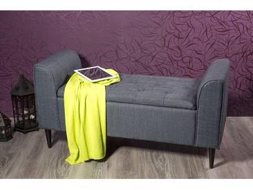 Komfortable Truhenbank mit Staufach in grau
