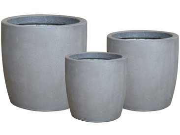 OUTLIV. Drum Pflanzkübel 3er-Set Fiber Cement Dunkelgrau