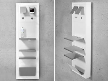 Smartboard-Set Muenchen, Telefontisch, Telefonkonsole, Wandregal, Telefonregal, auch als Nachttisch verwendbar, weiss matt