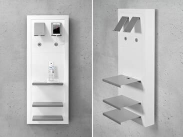 Smartboard-Set Frankfurt, Telefontisch, Telefonkonsole, Wandregal, Telefonregal, auch als Nachttisch verwendbar, weiss matt